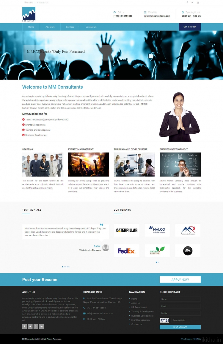Consultant services website for Web design consultant